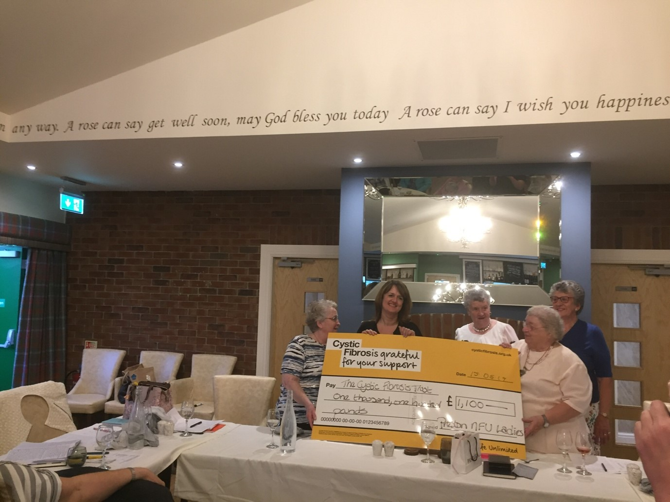 Preston Lady Farmers NFU Social Section - Charity Cheque
